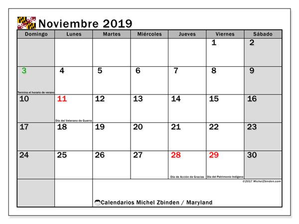 Calendario noviembre 2019, con días feriados de Maryland. Calendario vacaciones y festivos para imprimir gratis.