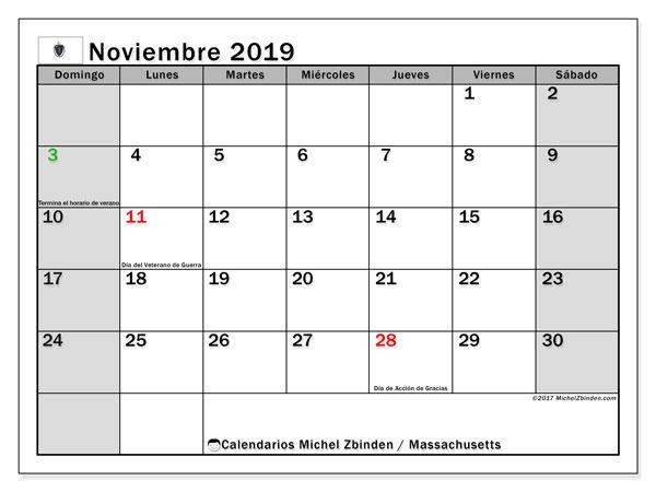 Calendario noviembre 2019, con días feriados de Massachusetts. Calendario vacaciones y festivos para imprimir gratis.
