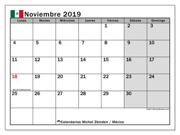 Calendario noviembre 2019, con los días feriados en México. Calendario para imprimir gratis.