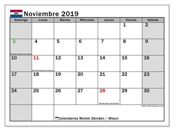 Calendario noviembre 2019, con días feriados en Misuri. Calendario vacaciones y festivos para imprimir gratis.