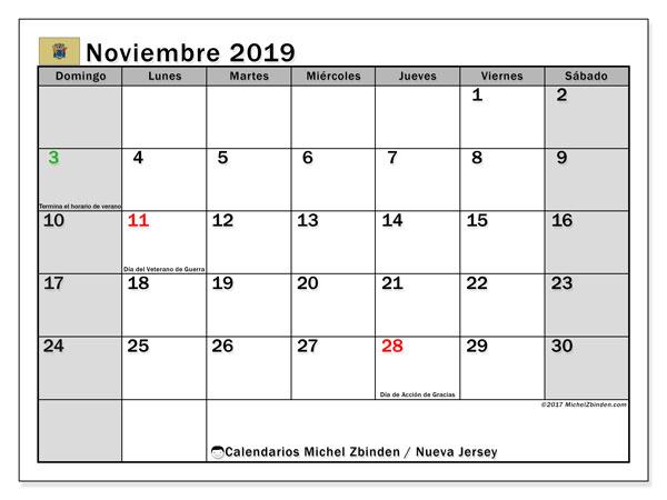 Calendario noviembre 2019, con días feriados en Nueva Jersey. Calendario vacaciones y festivos para imprimir gratis.