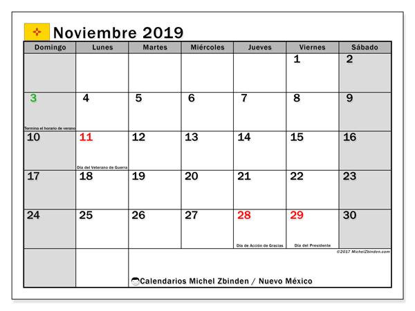 Calendario noviembre 2019, con días feriados en Nuevo México. Calendario vacaciones y festivos para imprimir gratis.