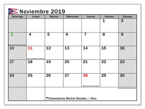 Calendario noviembre 2019, con días feriados de Ohio. Calendario vacaciones y festivos para imprimir gratis.