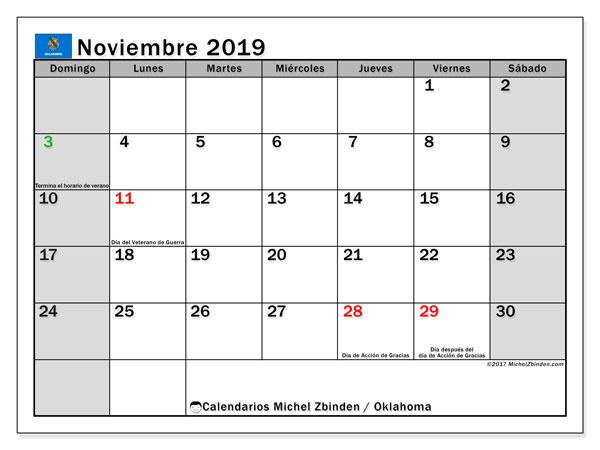 Calendario noviembre 2019, con días feriados de Oklahoma. Calendario para imprimir gratis con días festivos.