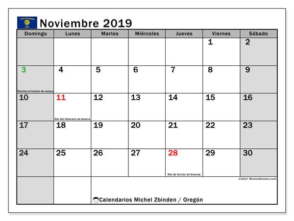 Calendario noviembre 2019, con días feriados de Oregón. Calendario vacaciones y festivos para imprimir gratis.