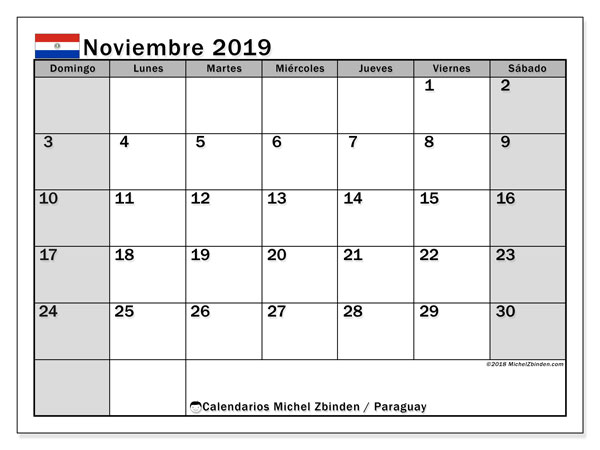 Calendario noviembre 2019, con días feriados en Paraguay. Calendario para imprimir gratis con días festivos.