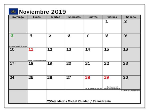 Calendario noviembre 2019, con días feriados en Pennsilvania. Calendario vacaciones y festivos para imprimir gratis.