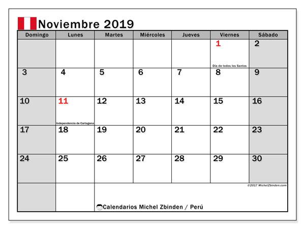 Calendario noviembre de 2019 - Perú. Calendario para imprimir: fiestas oficiales y días feriados.