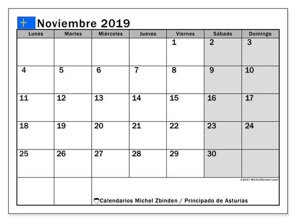 Calendario noviembre 2019, con días feriados del Principado de Asturias. Calendario para imprimir gratis con días festivos.