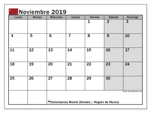 Calendario noviembre 2019, con días feriados en la Región de Murcia. Calendario vacaciones y festivos para imprimir gratis.