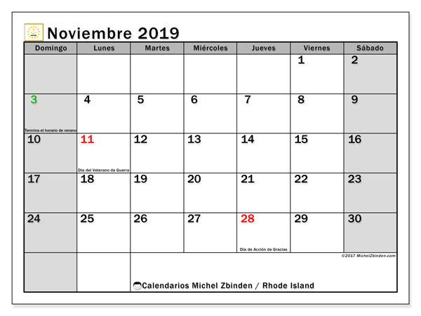 Calendario noviembre 2019, con días feriados de Rhode Island. Calendario vacaciones y festivos para imprimir gratis.