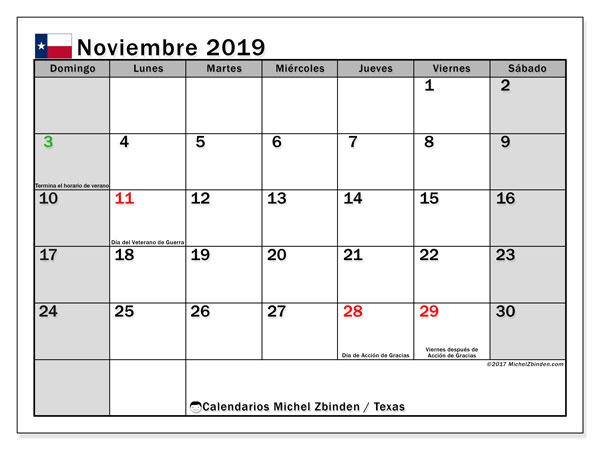 Calendario noviembre 2019, con días feriados de Texas. Calendario para imprimir gratis con días festivos.