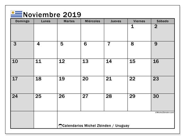 Calendario noviembre 2019, con días feriados de Uruguay. Calendario vacaciones y festivos para imprimir gratis.