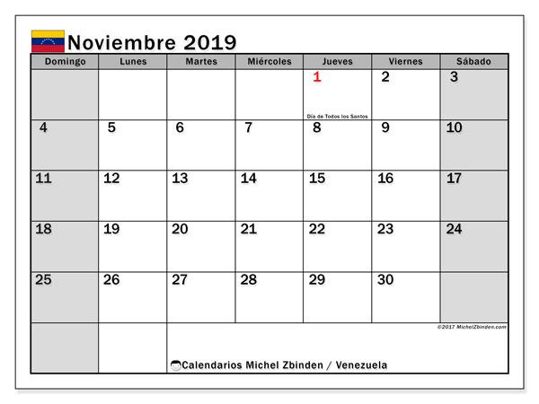 Calendario noviembre 2019, con días feriados en Venezuela. Calendario para imprimir gratis con días festivos.