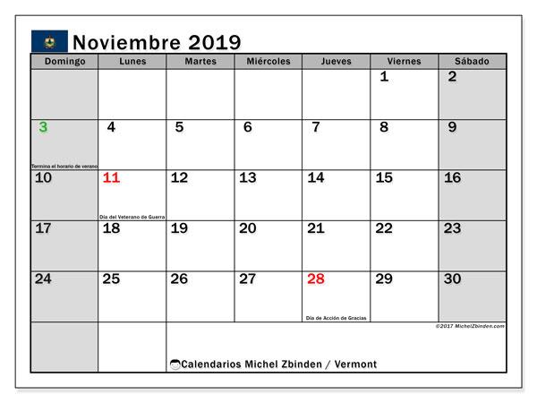 Calendario noviembre 2019, con días feriados de Vermont. Calendario para imprimir gratis con días festivos.