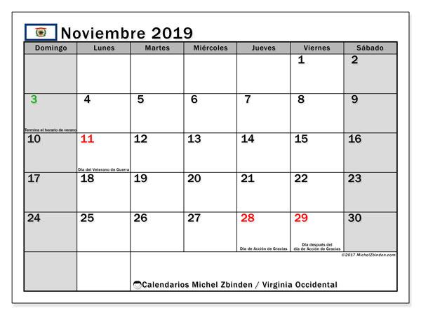 Calendario noviembre 2019, con días feriados de Virginia Occidental. Calendario vacaciones y festivos para imprimir gratis.