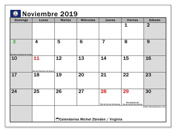 Calendario noviembre 2019, con días feriados de Virginia. Calendario vacaciones y festivos para imprimir gratis.