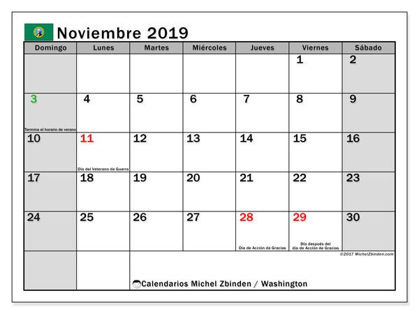 Calendario noviembre 2019, con días feriados de Washington. Calendario vacaciones y festivos para imprimir gratis.