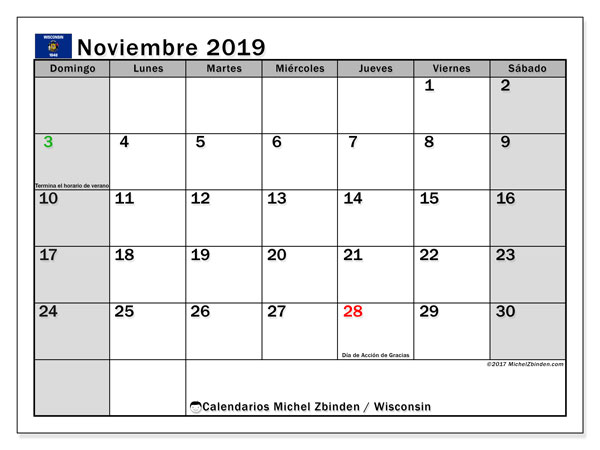 Calendario noviembre 2019, con días feriados de Wisconsin. Calendario para imprimir gratis con días festivos.