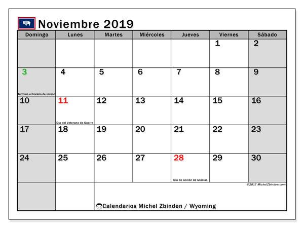 Calendario noviembre 2019, con días feriados de Wyoming. Calendario vacaciones y festivos para imprimir gratis.