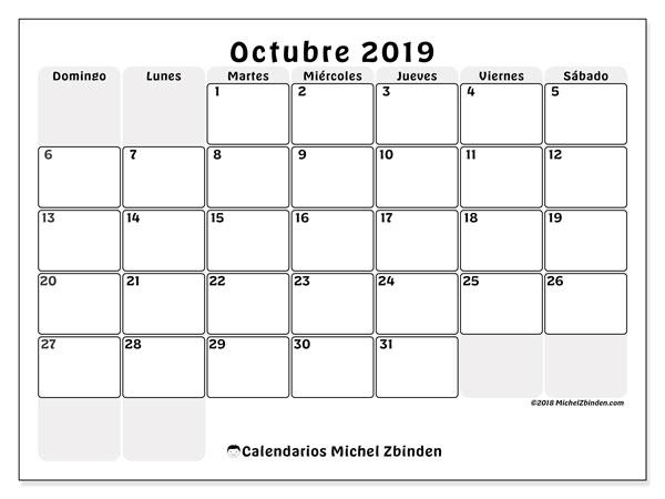Calendario octubre 2019, 44DS. Almanaque para imprimir gratis.