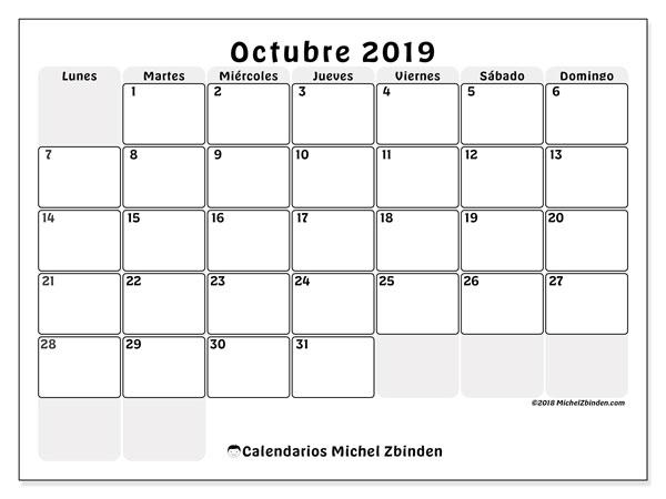 Calendario octubre 2019, 44LD. Planificación para imprimir gratis.