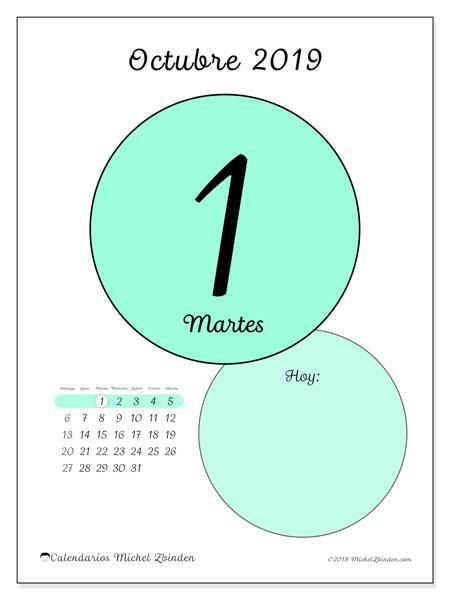 Calendario octubre 2019, 45-1DS. Calendario diario para imprimir gratis.
