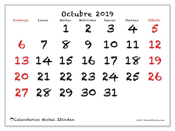 Calendario octubre 2019, 46DS. Planificación para imprimir gratis.