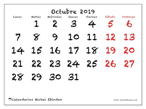 Calendario octubre 2019, 46LD. Calendario imprimible gratis.