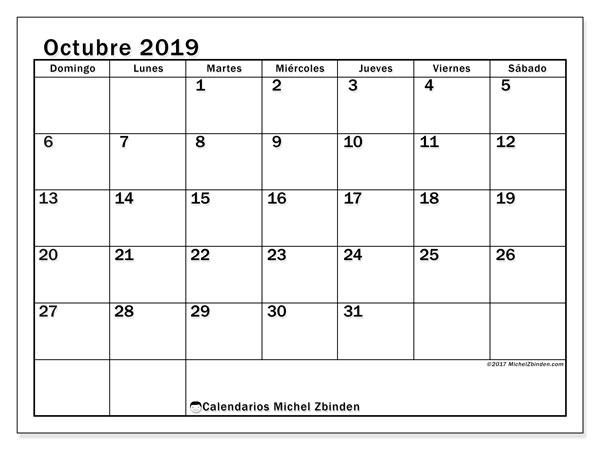 Calendario octubre 2019, 50DS. Calendario gratuito para imprimir.