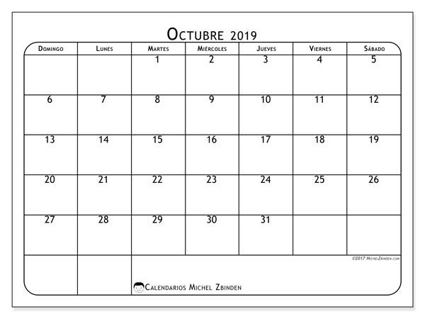 Calendario octubre 2019, 51DS. Calendario gratuito para imprimir.