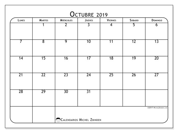 Calendario octubre 2019, 51LD. Calendario imprimible gratis.