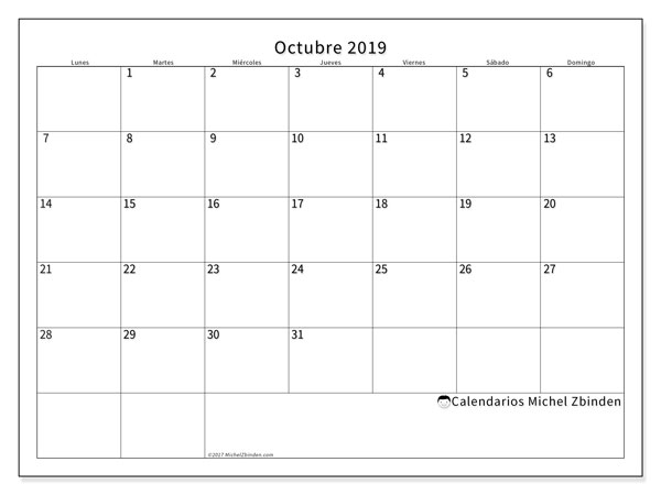 Calendario Mes De Octubre 2020 Para Imprimir.Calendario Octubre 2019 53ld Michel Zbinden Es