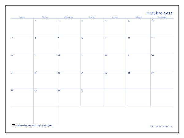 Calendario octubre 2019, 55LD. Calendario mensual para imprimir gratis.