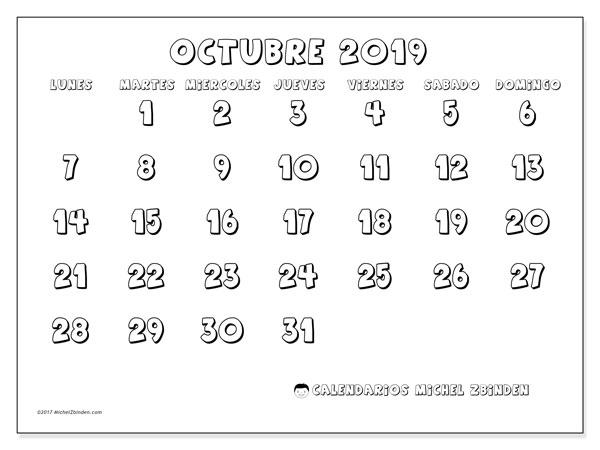 Calendario octubre 2019, 56LD. Almanaque para imprimir gratis.