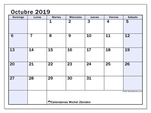 Calendario octubre 2019, 57DS. Calendario imprimible gratis.