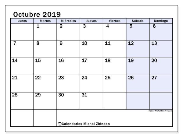 Calendario octubre 2019, 57LD. Calendario para imprimir gratis.