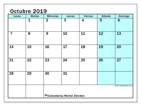 Calendario octubre 2019, 59LD. Calendario mensual para imprimir gratis.