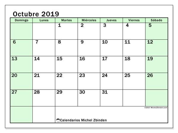 Calendario octubre 2019, 60DS. Calendario mensual para imprimir gratis.