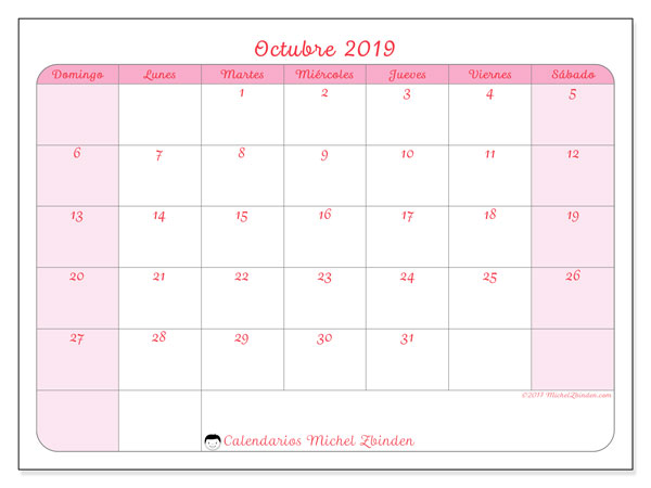 Calendario octubre 2019, 63DS. Calendario mensual para imprimir gratis.