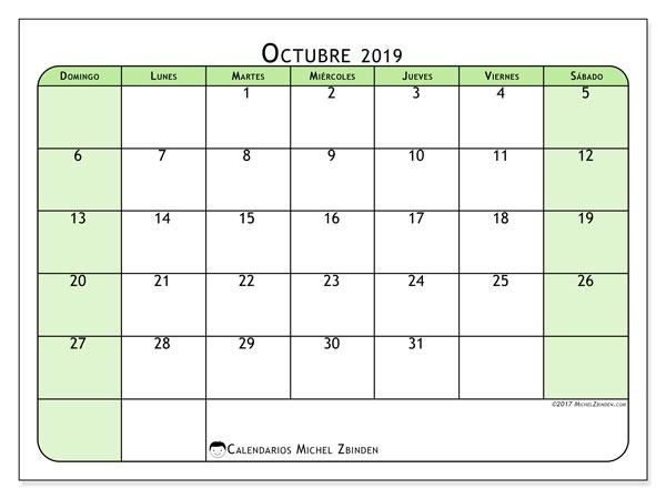 Calendario octubre 2019, 65DS. Calendario mensual para imprimir gratis.