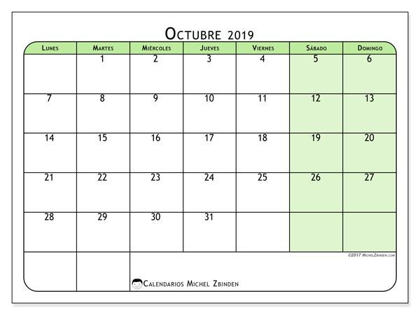 Calendario octubre 2019, 65LD. Calendario imprimible gratis.