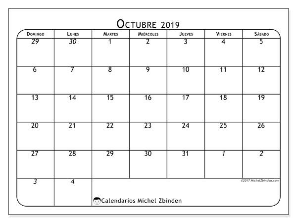 Calendario octubre 2019, 67DS. Calendario para el mes para imprimir gratis.