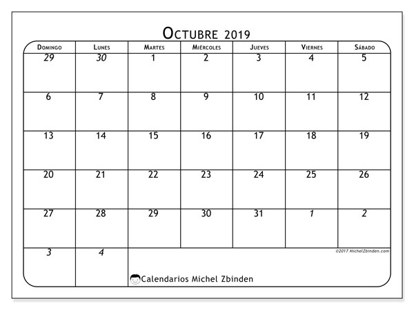 Calendario octubre 2019, 67DS. Calendario mensual para imprimir gratis.