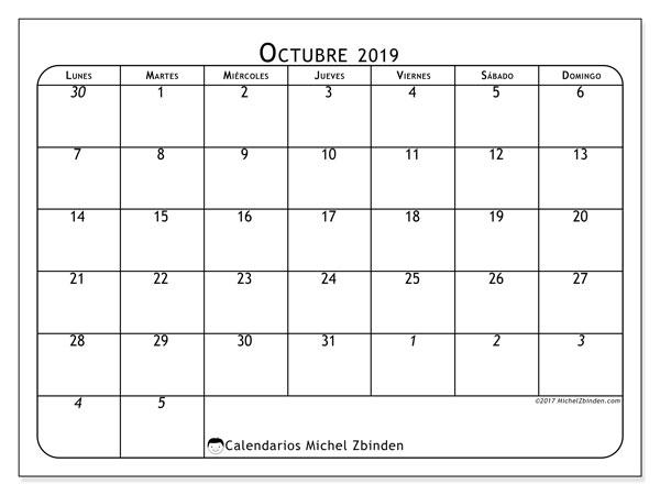 Calendario octubre 2019, 67LD. Calendario para el mes para imprimir gratis.