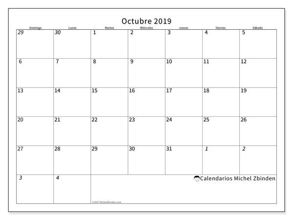 Calendario octubre 2019, 70DS. Calendario para el mes para imprimir gratis.