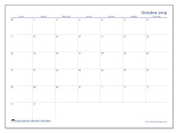 Calendario octubre 2019, 73LD. Planificación para imprimir gratis.