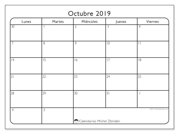 Calendario octubre 2019, 74DS. Calendario para el mes para imprimir gratis.