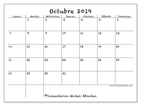 Calendario octubre 2019, 77LD. Calendario para el mes para imprimir gratis.