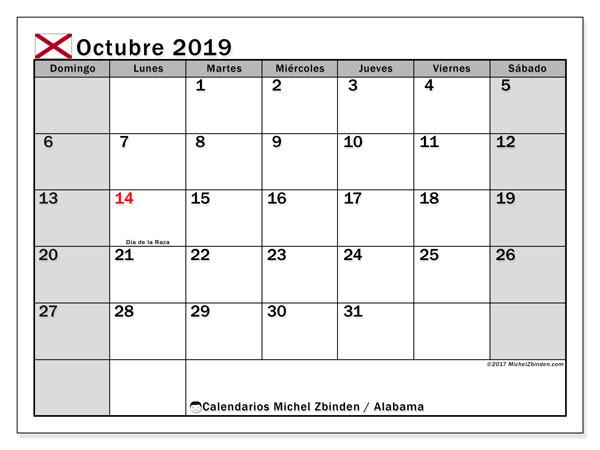 Calendario octubre 2019, con días feriados de Alabama. Calendario vacaciones y festivos para imprimir gratis.